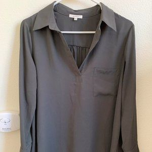 Pleione Long-sleeve Blouse in Olive Green
